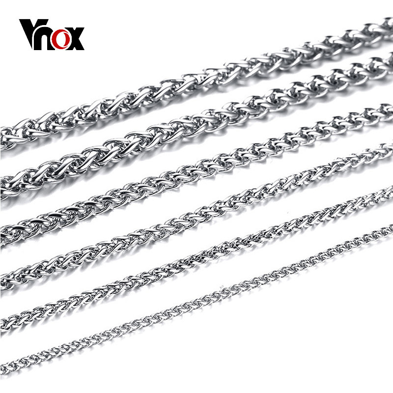 Vnox Chain Necklace Italy Jewelry Rapper Hip-Hop Stainless-Steel Silver-Color Colar Men