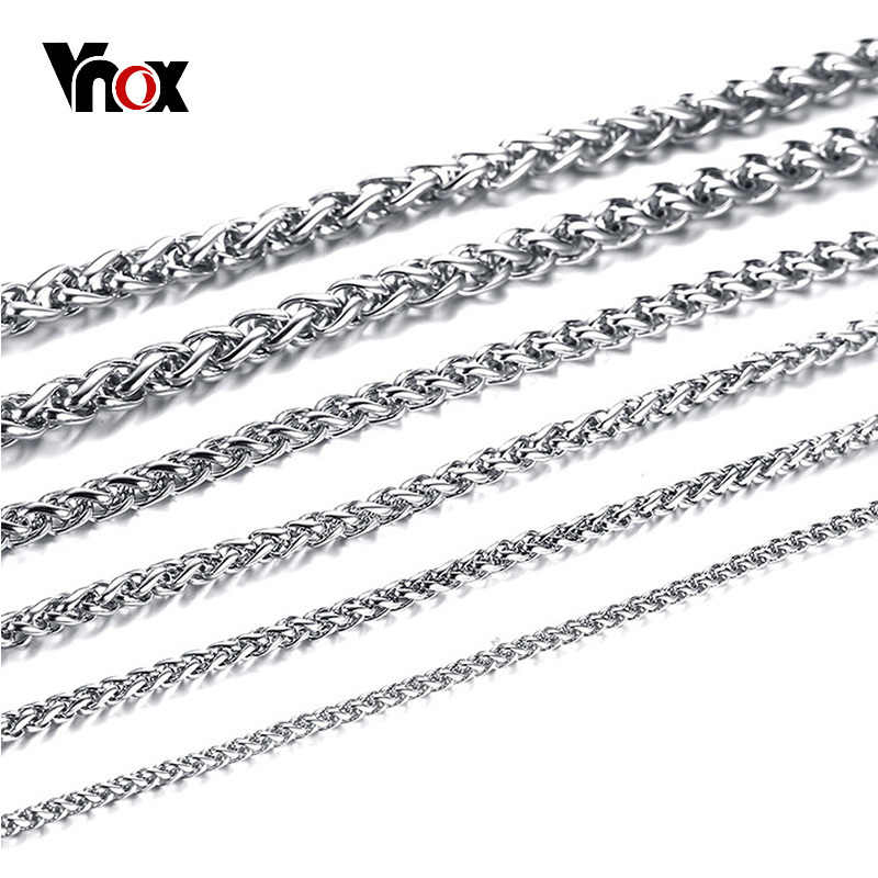 Vnox Men's Spiga Chain Necklace Silver Color Stainless Steel Wheat Long Necklace Colar Masculino Rapper Hip Hop Italy Jewelry