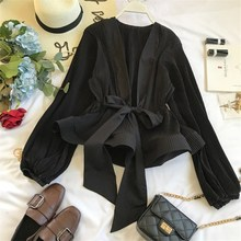цены на Ruched Ruffles Pleated Chiffon Blouse Women Sashes Grace Vintage Blouse Spring Fashion Elegant V-Neck Shirt  в интернет-магазинах