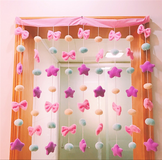 Pink Bow Knot Girl Bedroom Decorative Curtains Children\'s Room Princess  Curtains Birthday Party Hanging Star Decorations