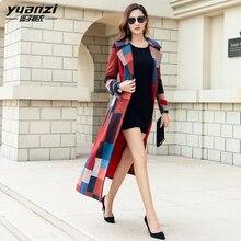 Brand Women's Clothing Wool jackets Temperament Slim X-long Wool Coat Female Plaid Printing Street Wear Cashmere Long Coat Women