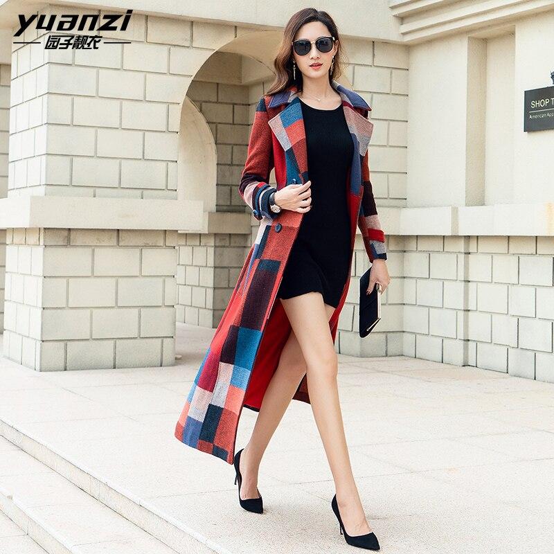 Marque Femmes Vêtements de Laine vestes Tempérament Mince X-Long manteau de laine Femelle Plaid Impression Street Wear Cachemire Long Manteau Femmes