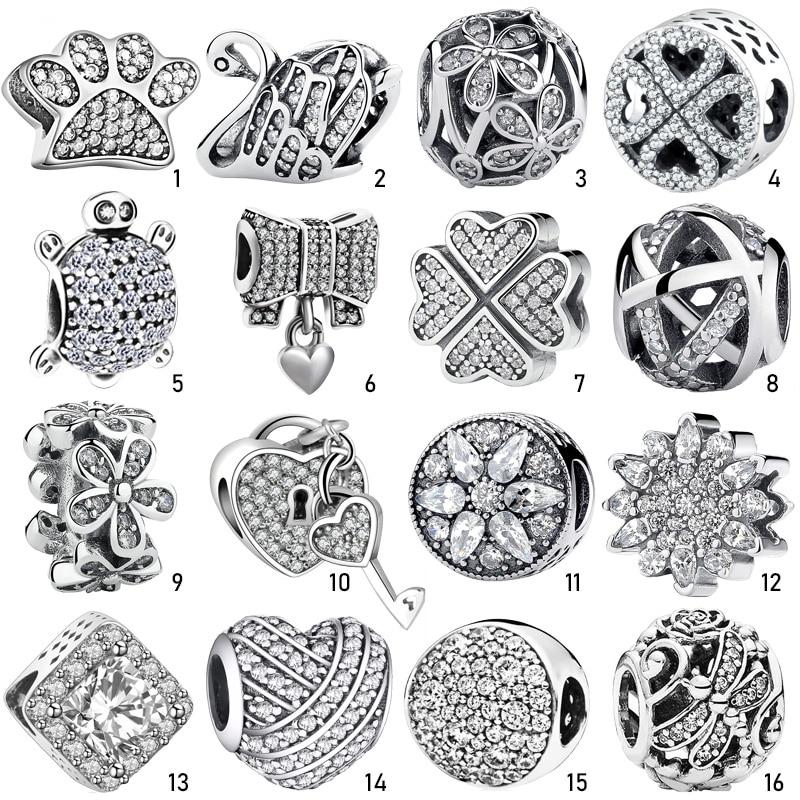 Fashion Authentic Clear CZ 925 Silver Charm Pendant Bead Fit Original Pandora Charms Bracelets Chain Bangle Necklace DIY Gift(China)