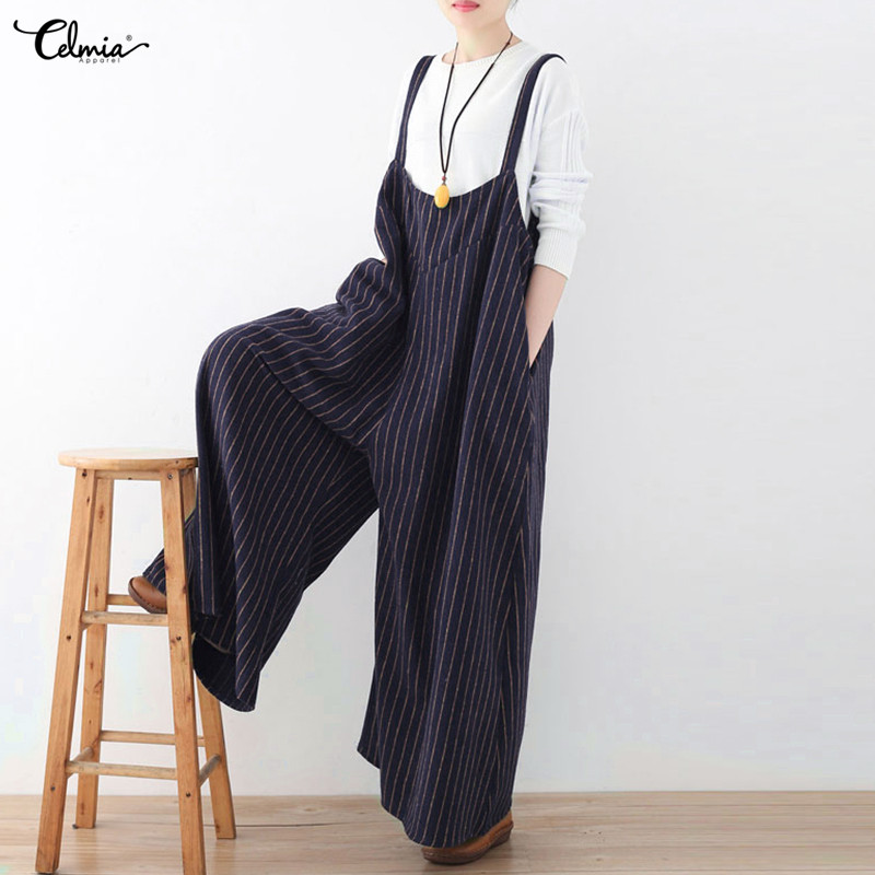 Celmia NEW Women   Jumpsuits   Romper Casual Palazzo Pants Backless Sleeveless Striped Wide Leg Pants for Female Plus Size Overalls