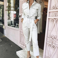 Jumpsuits for women 2018 combinaison overalls female long straight safari style jumpsuits with sashes