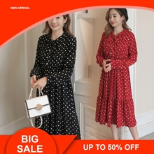 2019  Maternity Long Sleeve Dresses Pregnant Women Dot Dress Spring Summer Bohemian