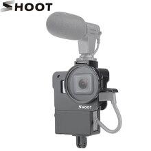 SHOOT GoPro Hero 용 보호 블로깅 케이지 케이스 7 6 5 마이크 용 블랙 마운트 Vlog 케이지 하우징 쉘 프레임 케이스 콜드 슈
