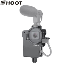 SPARARE Protettiva Vlogging Gabbia di Caso per GoPro Hero 7 6 5 Nero Supporto per Microfono Vlog Alloggiamento Gabbia Borsette Telaio caso Scarpa Freddo