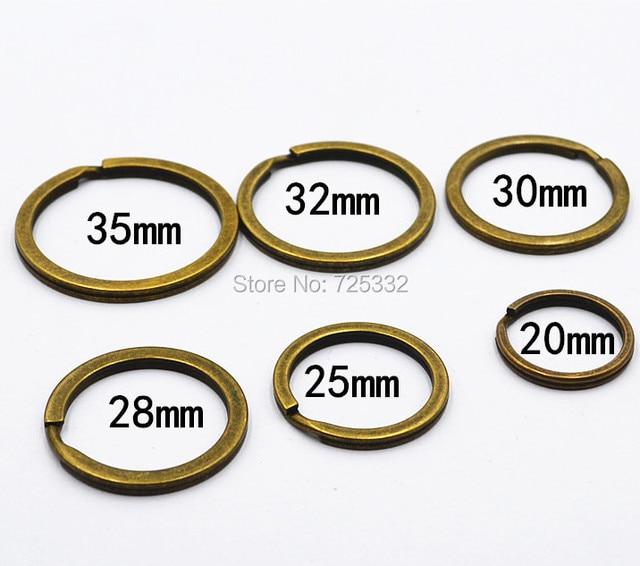 100 piezas DIY llavero Metal Vintage bronce níquel Split llavero 20mm 25mm 28mm 30mm 32mm 35mm conectores
