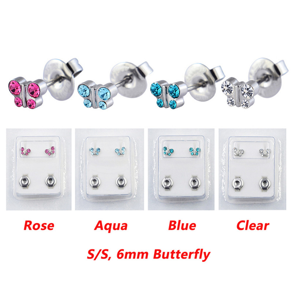 1 Pair Surgical Steel Ear Studs CZ Ball Heart Star Flower Crown Butterfly Sterilized Packaged Earrings Women Baby Gifts Jewelry