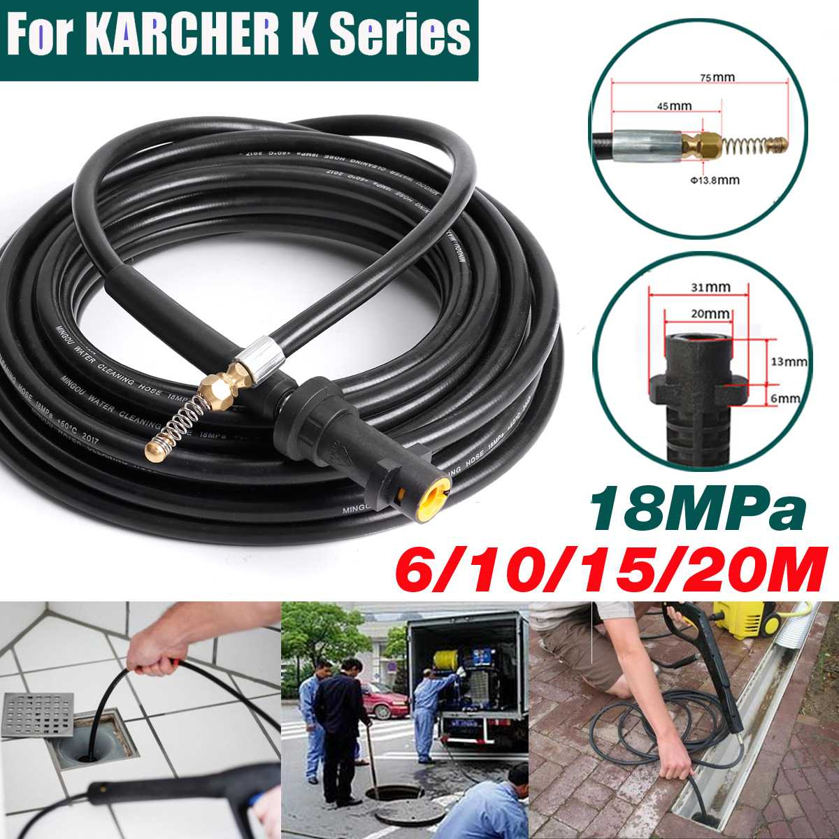 6/10/15/20m Pressure Washer Sewer Drain Cleaning Hose 1/4 Inch Quick Release Drain Sewer Cleaning Hose