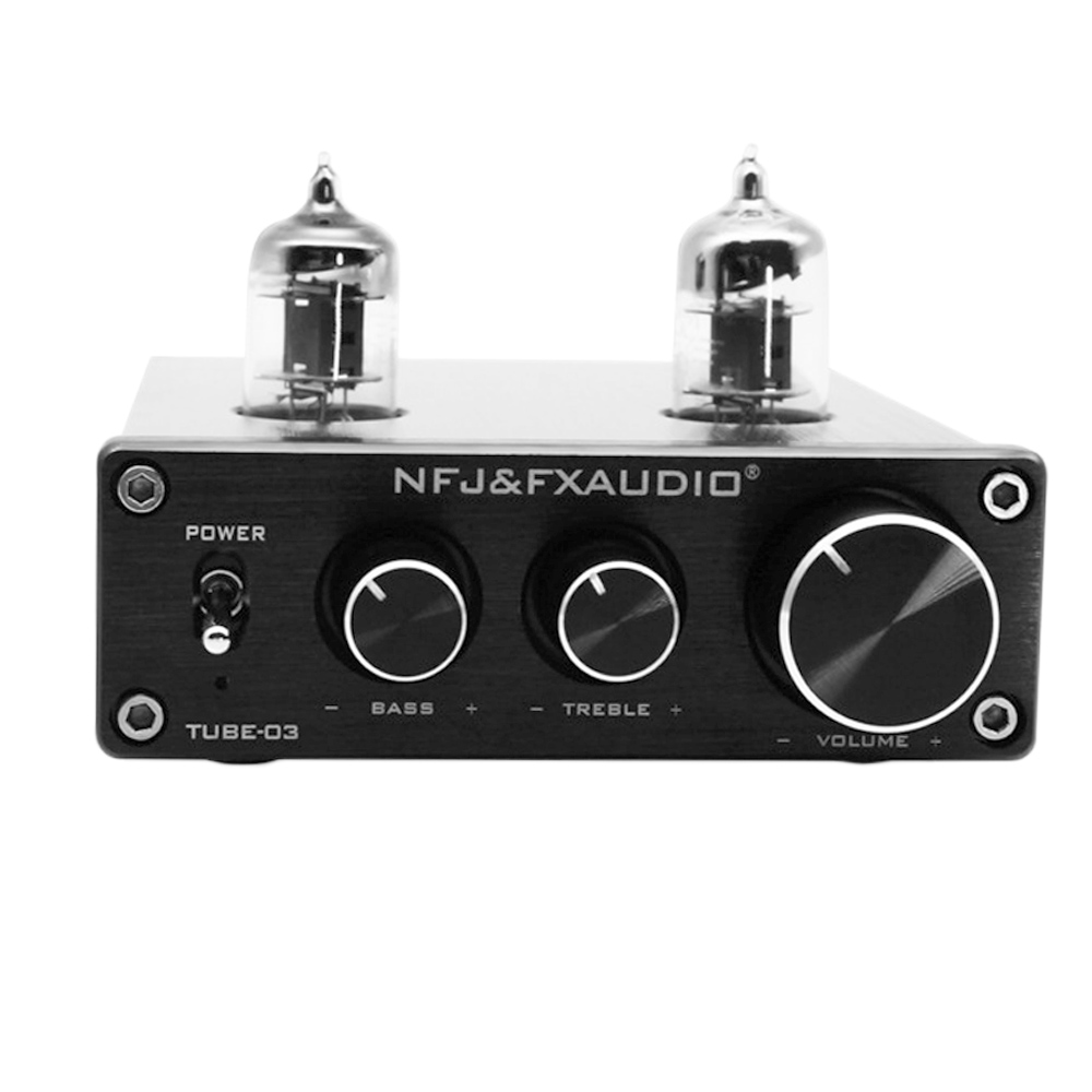 US $49 99 25% OFF|FX audio Tube 03 80W Bile Preamp 6j1 Electron Tube  Digital HiFi Amplifier Treble & Bass Metal Audio Amplifier 12V1A-in  Headphone