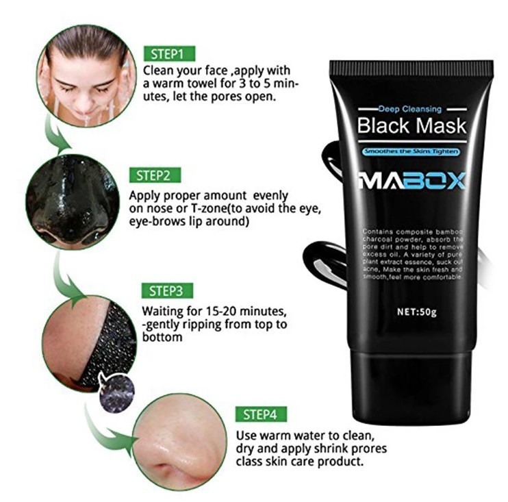 Image 3 - MABOX Bamboo Charcoal Black Mask Face Care Deep Cleansing Purifying Blackhead 3 Steps Black Head Remover Acne Nose Mask-in Treatments & Masks from Beauty & Health