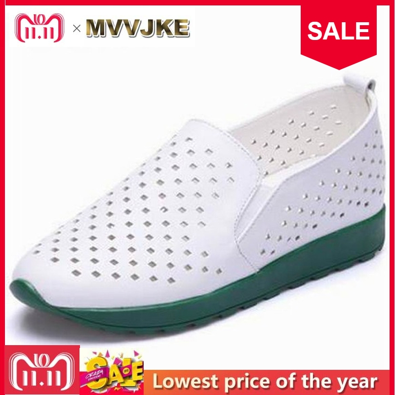 MVVJKE Shoes Woman 100% Genuine Leather Women Shoes Flats 2 Colors Loafers Slip On Women's Flat Shoes Moccasins Plus Size E187 цены онлайн