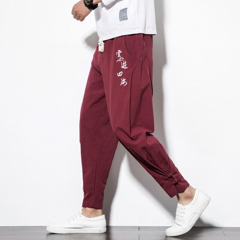 #4504 Rero Traditionellen Chinesischen Hosen Für Mann Stickerei Baumwolle Leinen Hose Vintage Harem Hosen Elastische Taille Plus Größe M-5xl