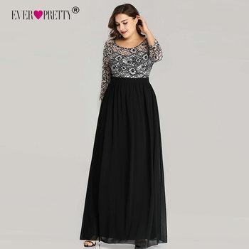Plus Size Prom Dresses Ever Pretty EZ07688 Long 2020 A-line O-neck Lace Long Sleeve Chiffon Winter Black Elegant Robe De Soiree
