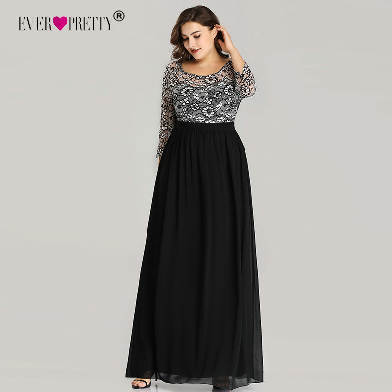 Plus Size   Prom     Dresses   Ever Pretty EZ07688 Long 2019 A-line O-neck Lace Long Sleeve Chiffon Winter Black Elegant Robe De Soiree