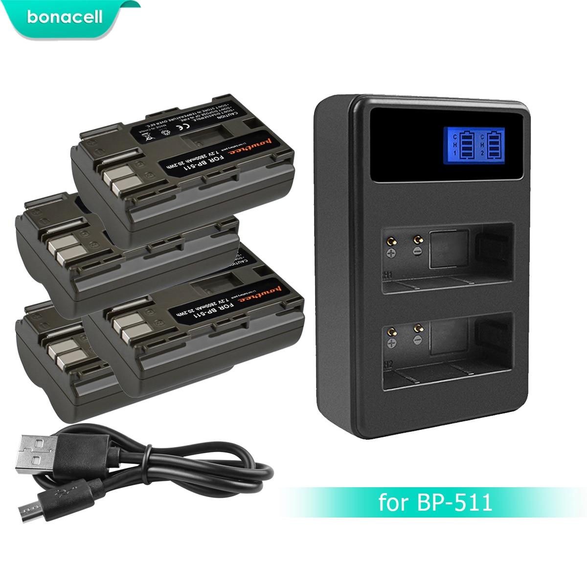 Bonacell 7.2 V 2800 mAh BP-511 BP-511A BP 511A Batterie + LCD Double Chargeur Pour appareil photo Canon EOS 40D 300D 5D 20D 30D 50D 10D G6 L10Bonacell 7.2 V 2800 mAh BP-511 BP-511A BP 511A Batterie + LCD Double Chargeur Pour appareil photo Canon EOS 40D 300D 5D 20D 30D 50D 10D G6 L10
