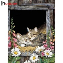 Huacan Diamond Painting Animal Rhinestones Pictures Mosaic Flower Full Square Drill Tools Embroidery Cat Decoration