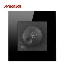 Потолочный вентилятор MVAVA, диммер, контроль скорости, настенное включение/выключение, 500 Вт, вращать переключатель, роскошный черный кристалл, стандарт Великобритании/ЕС