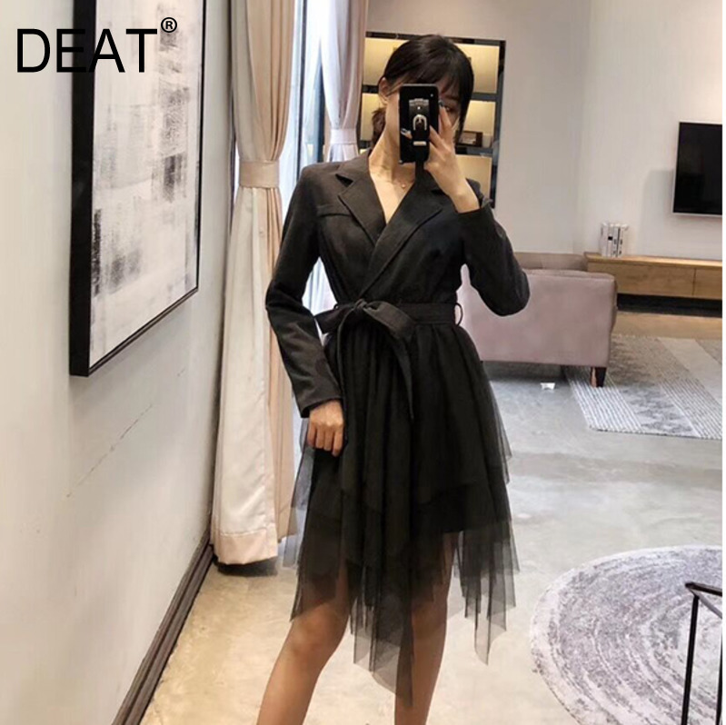 DEAT 2019 Spring Summer New Suit Collar Collar Gauze Pettiskirt Long sleeved Belt Fake Two piece