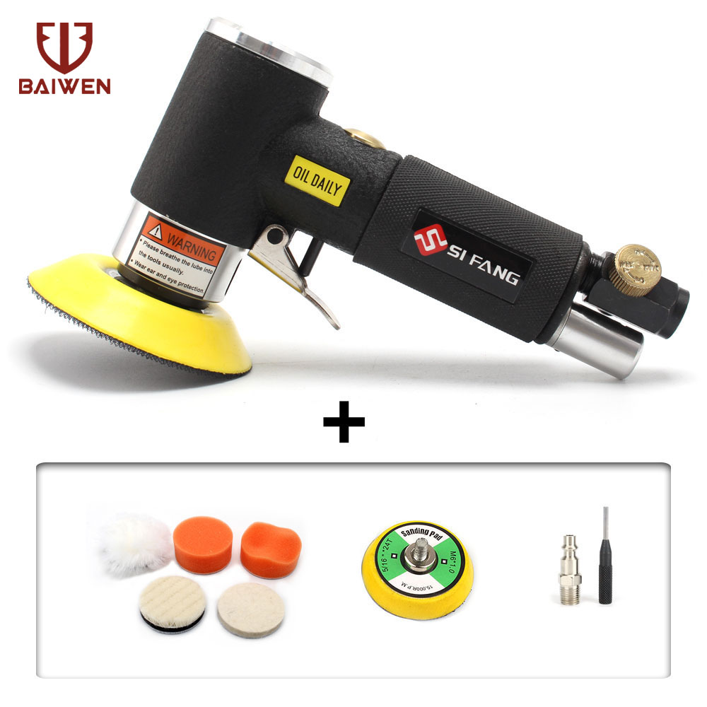 10Pcs 2'' 3'' Orbital Air Sander DA  Mini Sander Pneumatic Tools For Auto Body Work With 2'' Polishing Pads Sponge Waxing Kit