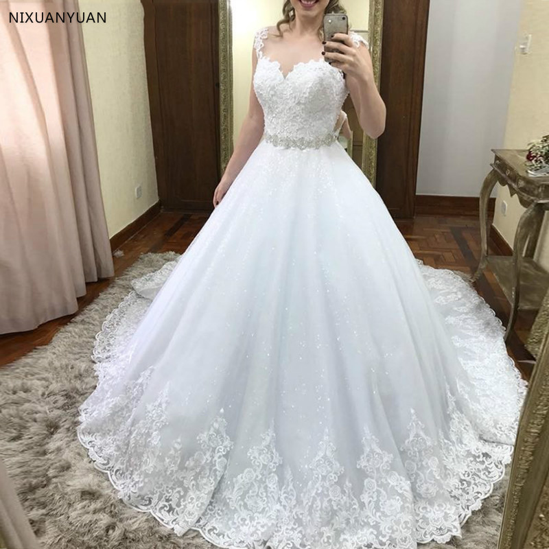 Luxury Princess Ball Gown Wedding Dresses See Through Back