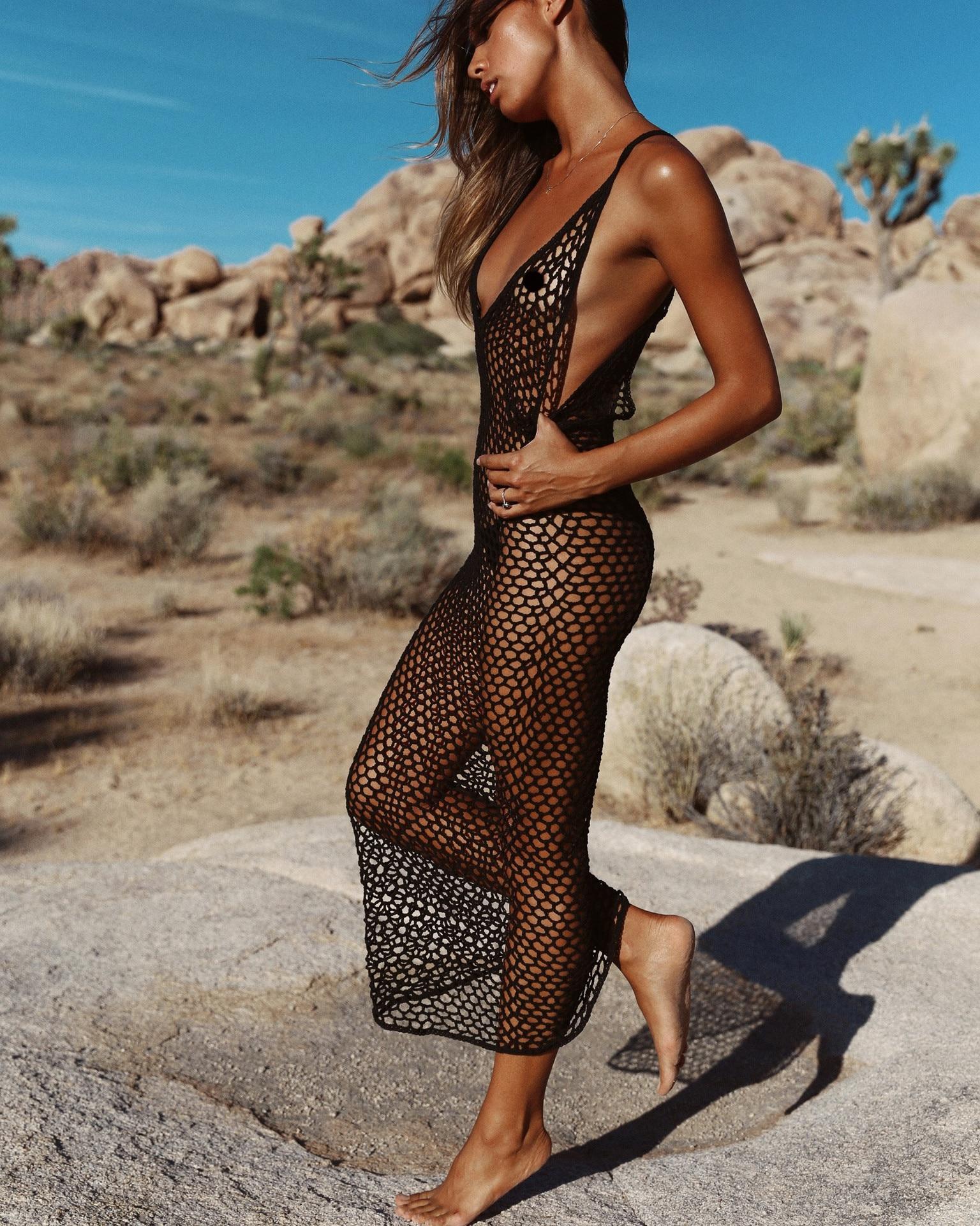 Noir Robe Plage Bikini Caftan Robe De Plage 2019 Femmes Robe d'été Maillot De Bain Cover Up Jupe De Plage Coverup Maillot De Bain