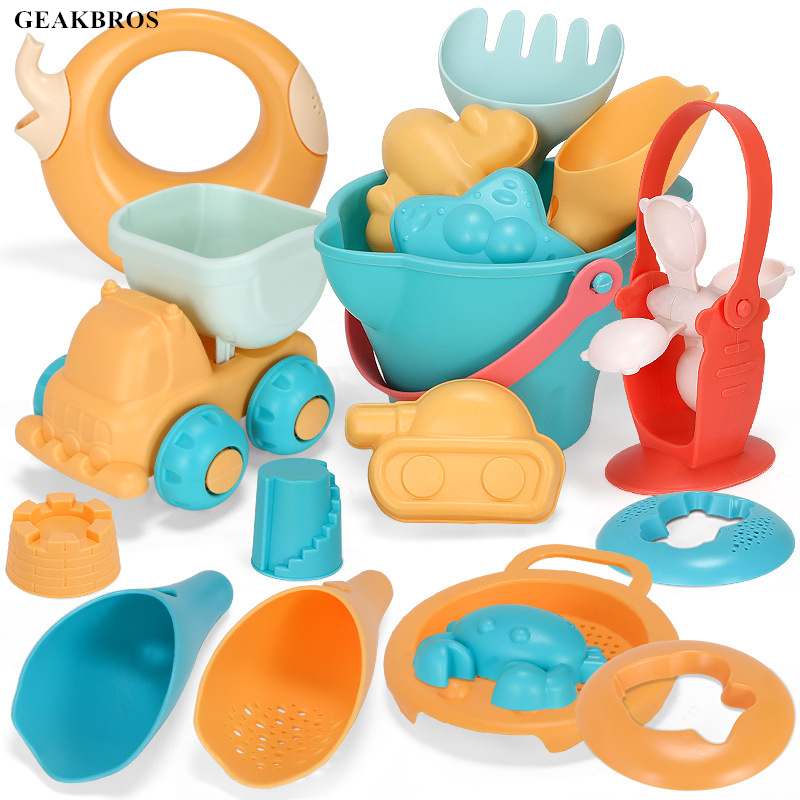 Kids Summer Beach Toys Soft Silicone SandBox Set Sea Sand Bucket Tool Rake Hourglass Water Table Play Fun Shovel Mold Bath Toy
