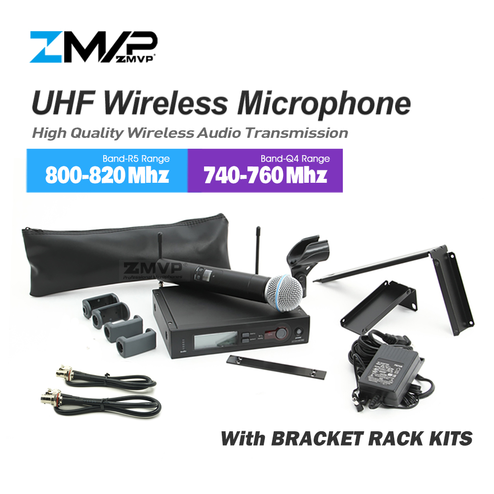 ZMVP SLX24 BETA58 Professional UHF Handheld Karaoke SLX Wireless Microphone System with Bracket Rack Kits 2-Band 740~820Mhz free shipping uhf professional s24 b 58 wireless microphone cordless karaoke system with handheld transmitter band r5 800 820mhz