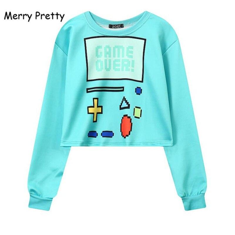 Merry Pretty Woman's Sweatshirt Harajuku Sexy Crop Top Punk Hip-hop Hoody Large Size Sudaderas Mujer Fashion Feminino Moleton