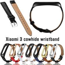 Cowhide Wrist Strap Replacement Wristband for Xiaomi Mi Band 3 Zinc Alloy Polished Mirror Watch Bracelet Metal Case(China)