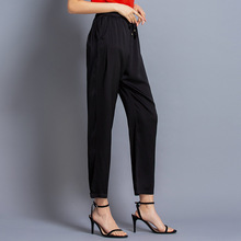 Heavy silk trousers women summer new arrival lace-up casual harem pants