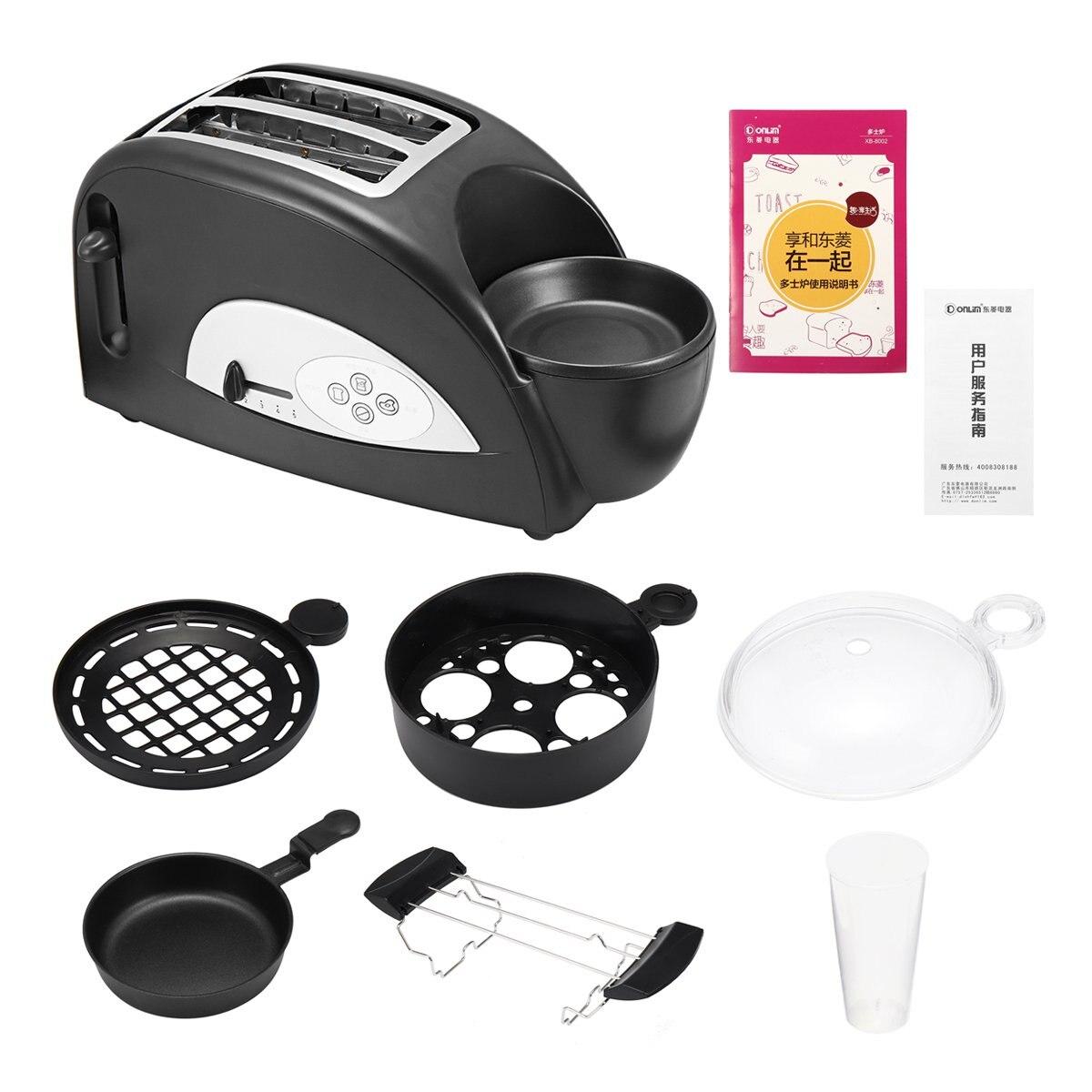 Multifonctionnel 2 en 1 en acier inoxydable 2 tranches pain grille-pain électrique oeufs cuisinière petit déjeuner fabricant ménage four Machine 1200 W