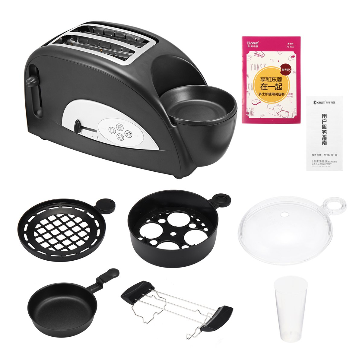 Multifunctional 2 in 1 Stainless Steel 2 Slices Bread Toaster Electric Eggs Cooker Breakfast Maker Household Oven Machine 1200WMultifunctional 2 in 1 Stainless Steel 2 Slices Bread Toaster Electric Eggs Cooker Breakfast Maker Household Oven Machine 1200W