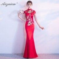 Fashion Red Mermaid Long Cheongsam Modern Women Traditional Chinese Dress Qipao Oriental Evening Dresses Slim Robe Qi Pao
