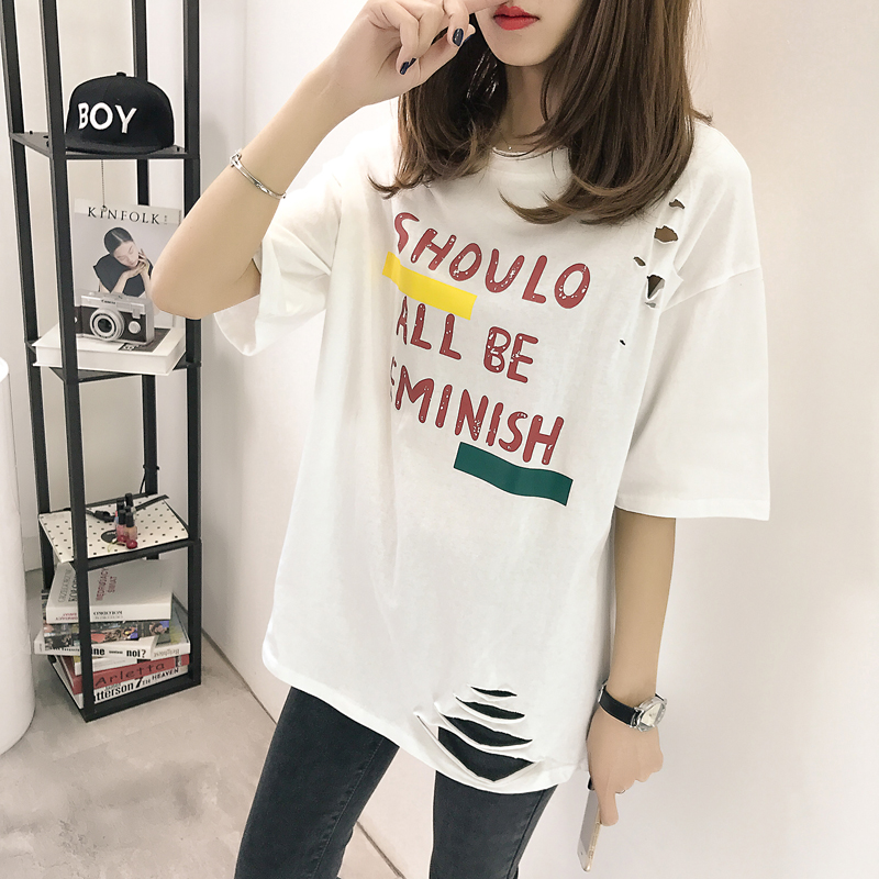 XL- 4XL 2019 new plus size summer loose High Street hole Letter print short sleeve O-Neck women T-shirt top tee TY5 3