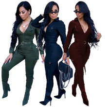 Sexy Women Bodycon Jumpsuit Sexy V-neck Long Sleeve Army Green Solid Casual Body