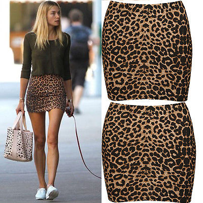 Summer Womens Sexy Animal Leopard Print Pencil Ladies Bodycon Mini-skirts