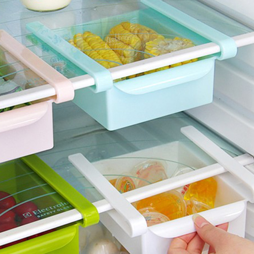Permalink to Slide Kitchen Fridge Freezer Space Saver Organizer Storage Rack Shelf Holder Plastic Box Kitchen Cabinet Storage Busket Containe