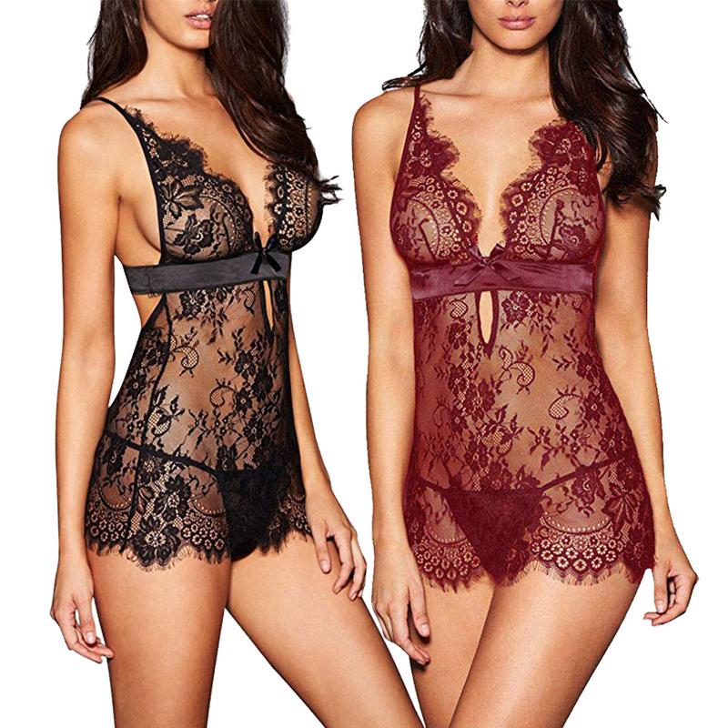 Women's Sexy Eyelash Lace Edge Nightdress Sexy  Suit Black Eyelash Lace See-Through Chemise Babydoll Nightwear Set
