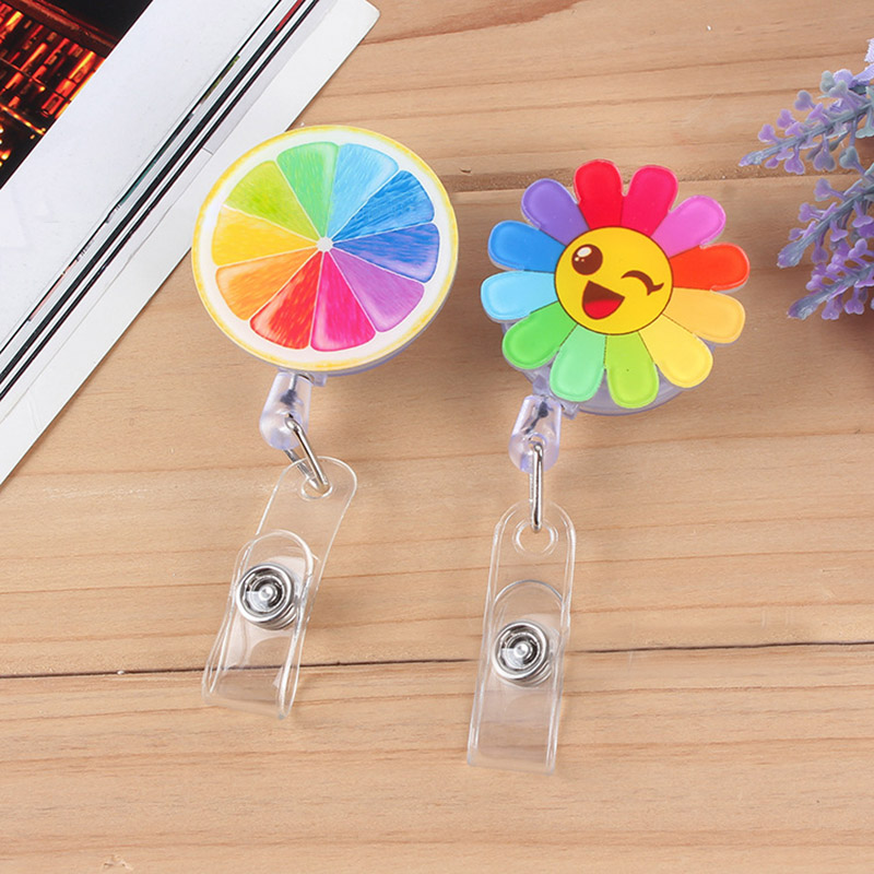 Mini Flowers Retractable Badge Reel Pull Key Cartoon Lemon Stars ID Name Card Badge Holder Cute Buckle Name Tag Card Holders