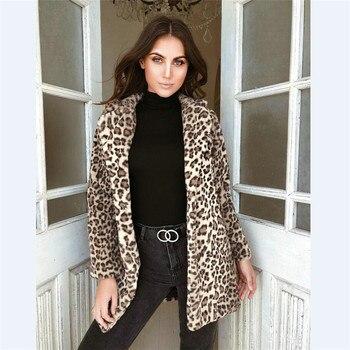 Plus Size Women Leopard Printed Winter Coats Jackets Luxury Faux Fur Coat Warm New Cardigan Autumn Long Sleeve Outwear Female