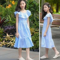 Big Children Sleeveless Cotton Princess Dresses For Teenagers Little Kids Summer Dresses Maxi Long Mermaid 2019 New Fashion
