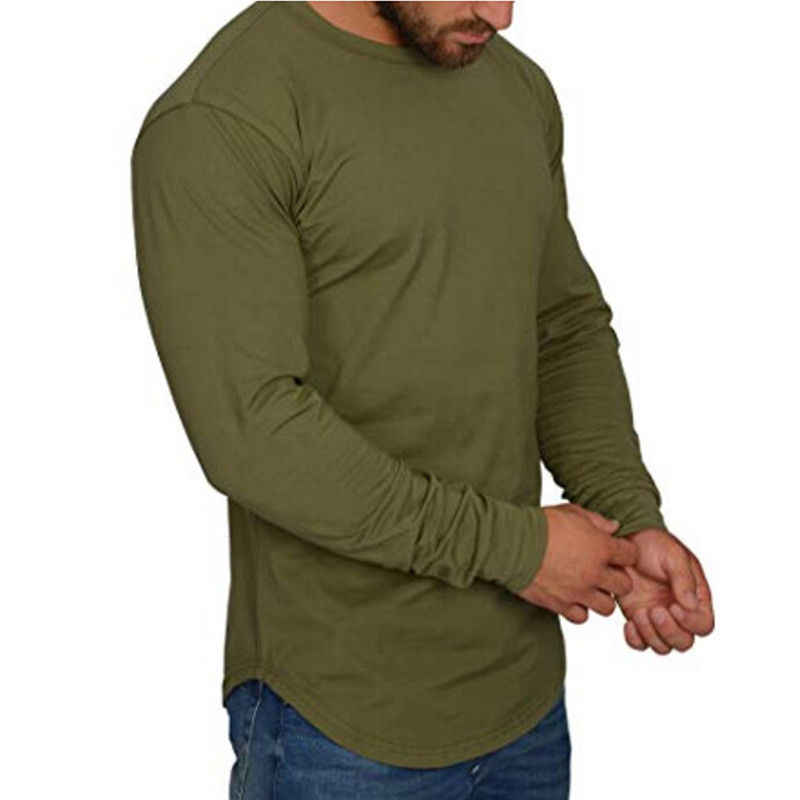 Mannen Lange Mouw Effen T-Shirts Onregelmatige Gebogen Zoom Losse O Tee HipHop Shirts Streetwear Casual Tops Oversize Basic Tee
