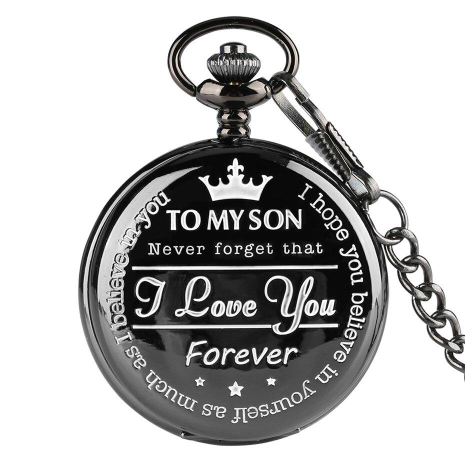À mon fils 'gravure mot noir montre de poche hommes numéro romain montres Unique Quartz horloge chaîne garçon anniversaire cadeaux de noël