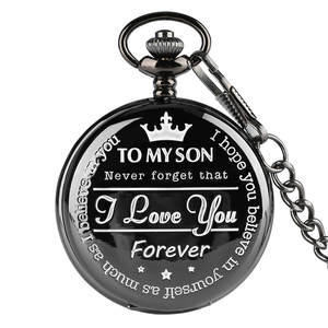 Clock Chain Watches Engraving Word Christmas-Gifts Quartz Roman Black Unique Boy Birthday