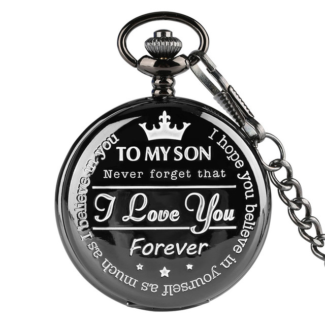 """To MY SON' Engraving Word Black Pocket Watch Men Roman Number Watches Unique Quartz Clock Chain Boy Birthday Christmas Gifts"