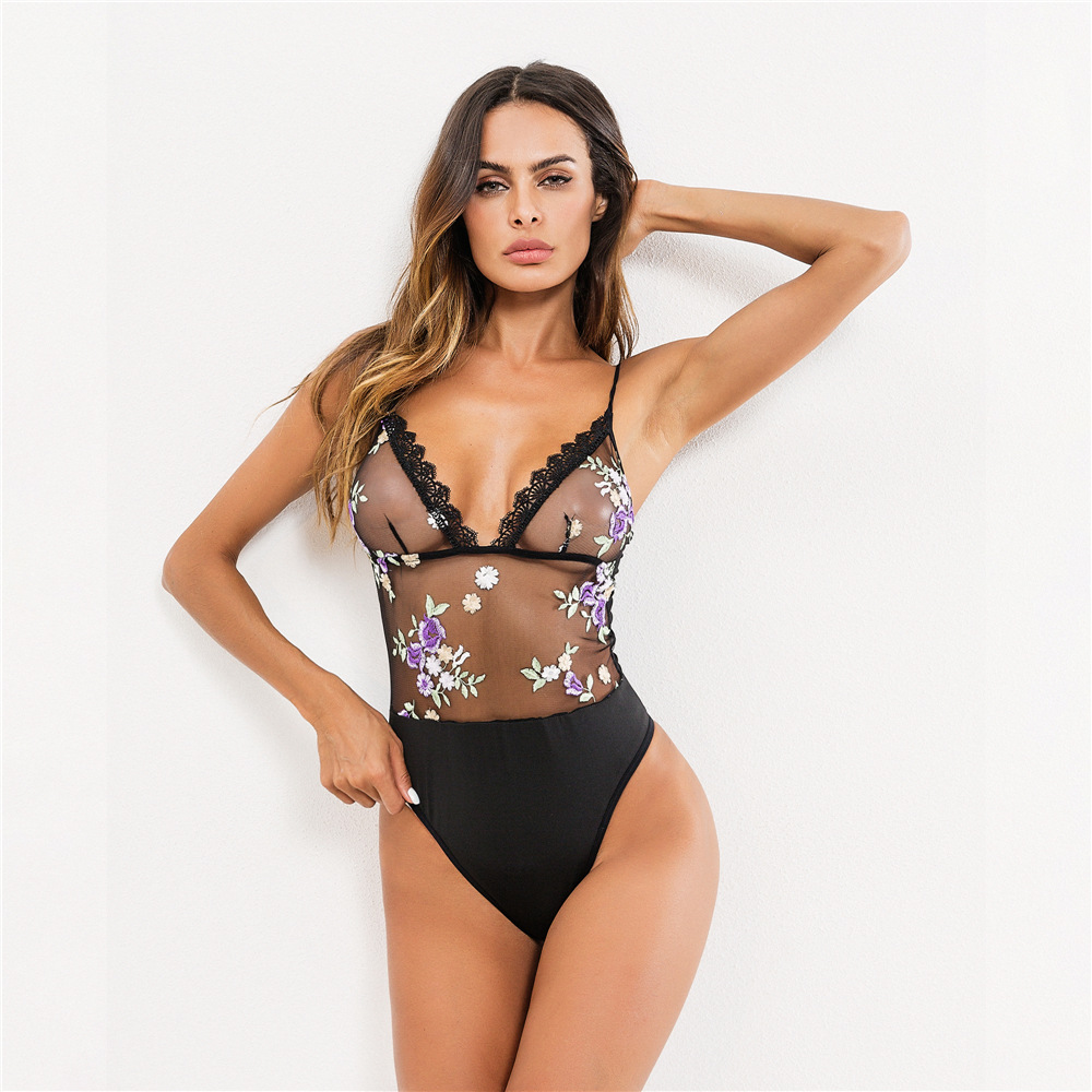 Sweetown Sexy mesh yarn Bodysuits Lace splice embroidery Erotic Sling Summer Overalls Backless rompers womens jumpsuit in Bodysuits from Women 39 s Clothing