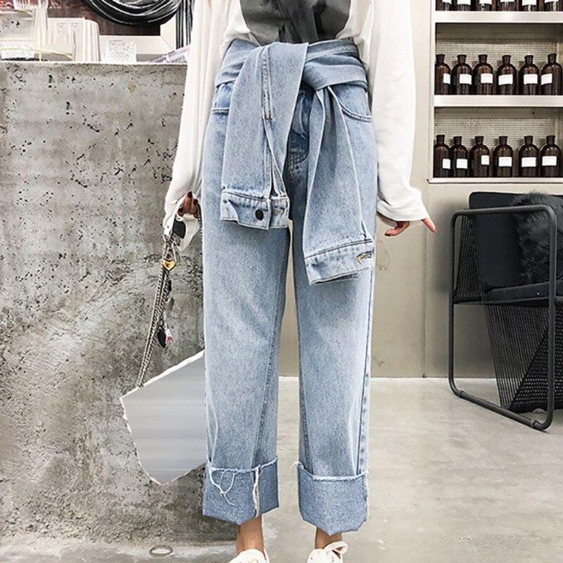 Shengpalae 2019 Delle Pantaloni Blu Vita Donne Alta Jeans Di Marea Nuovo  Oc477 Larghi Chiusure black ... 2c530fc90a2